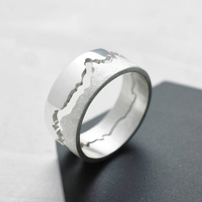 Mens Coastline Map Ring - Handmade By AOL Special