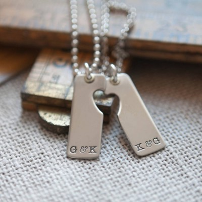 A Pair Sterling Silver Heart Cut Out Dog Tag Set Necklace - Handmade By AOL Special