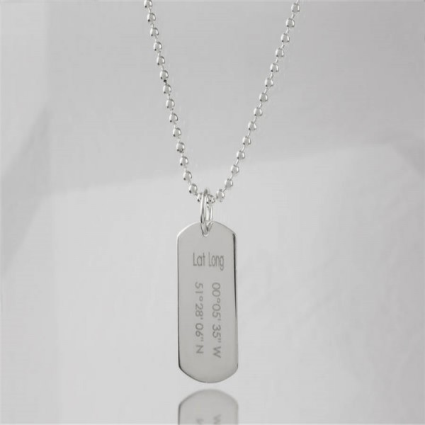 Personalized Coordinates Dog Tag Necklace - Handmade By AOL Special