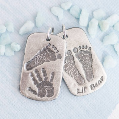 Personalized Handprint Footprint Dog Tag - Handmade By AOL Special