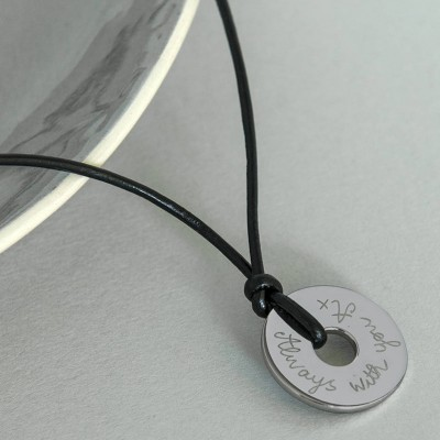 Personalized Mens Sterling Silver Open Disc Necklace - Handmade By AOL Special