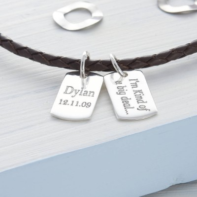 Personalized Silver Mini Dog Tag Leather Necklace - Handmade By AOL Special