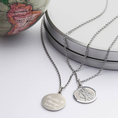 Personalized Silver St Christpher Medal Necklace - Handmade By AOL Special