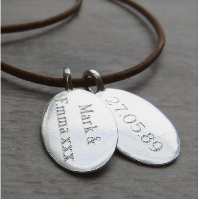 Silver Tag amp Leather Cord Necklace - Handmade By AOL Special