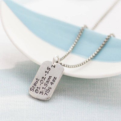 Personalized Dog Tag Necklace With Baby Birth Info - Handmade By AOL Special