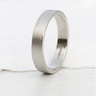 18ct White Gold Wedding Ring With Spun Silk Finish - Handmade By AOL Special