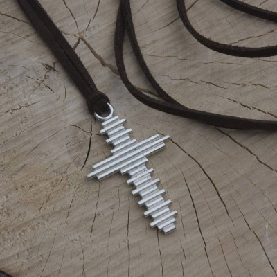 Large Silver Cross Necklace - Handmade By AOL Special