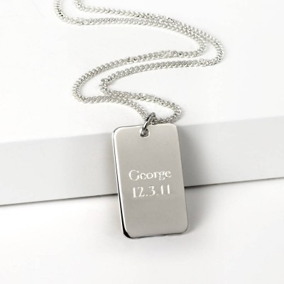 Silver Dog Tag Necklace - Handmade By AOL Special