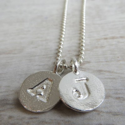 Silver Letter Charm And Ball Chain Necklace - Handmade By AOL Special