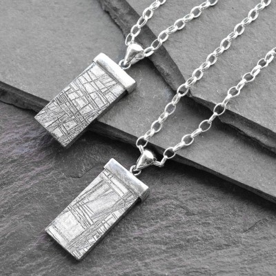 Silver Tipped Meteorite Necklace - Handmade By AOL Special