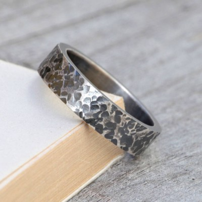 Personalized Textured Wedding Band In Oxidised Silver - Handmade By AOL Special