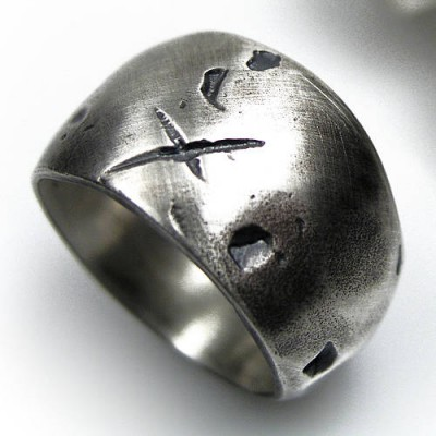 Rustic Wide Silver Gnarled Ring - Handmade By AOL Special